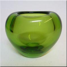 Holmegaard green heart shaped 'Majgrøn' (May Green) vase, signed by Per Lutken, design number 18120-460014.