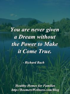 """""""You are never given a dream without the Power to make it come true"""". Richard Bach ~ Loved his book, way back.  Jonathan Livingston Seagull.  Not sure which quote this is from.  ..."""