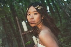 Bettina | Crystal and Flower Bridal Halo, Gold Wedding Headpiece Floral Bridal Forhead Band, Hair Vine, Bridal Headpiece, Hair Jewellery, UK