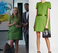 """1x06 by Kirsty0 Comments Fallon Carrington (Elizabeth Gillies) wears this green short sleeve dress in this episode of Dynasty, """"I Exist Only For Me"""". It is the Alexander McQueen Mini Dress with Cape. Buy it HERE for ,395.00"""