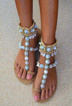 Hot Lava Tribal Natural boho sandal slippers (37, 41 uitverkocht)!
