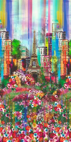 Wanderlust - About Paris Border - DIGITAL PRINT Quilt Fabrics from www.eQuilter.com