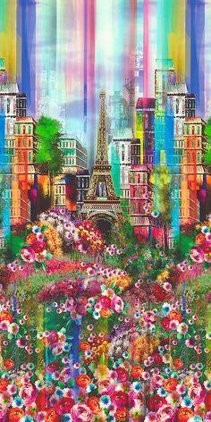 Wanderlust - About Paris Border - DIGITAL PRINT Quilt Fabrics from www.eQuilter.com