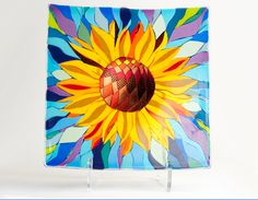 """Sunflower Plate - 16"""" by 16"""" fused, slumped glass by Linda Warwick Smith"""