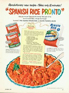 1952 Minute Rice and Hunts Tomato Sauce ad Sage Recipes, Old Recipes, Cooking Recipes, Cooking Stuff, Retro Recipes, Vintage Recipes, Mexican Food Recipes, 1950s Recipes, Childhood