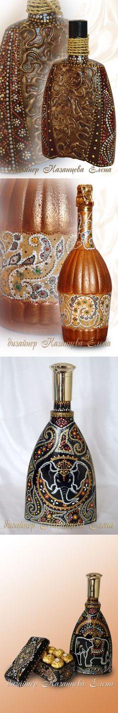 Роспись и декупаж бутылок от дизайнера Казанцевой Елены.
