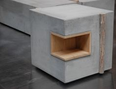 Zatara Side Table Concrete & Driftwood CATHERINE OP DE BEECK