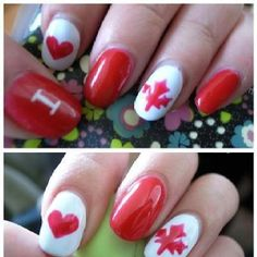 Community Post: 30 Canadatastic DIY-Able Manicures For Canada Day Nail Polish Designs, Cool Nail Designs, Nails Design, Red Nails, Hair And Nails, Cute Nails, Pretty Nails, Nail Envy, Canada Day