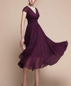 Purple Chiffon Midi Dress  V Neck Long Chiffon Dress by DressStory, $114.99