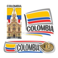 Vector logo Colombia, 3 isolated images: Jesus Nazareno church in Medellin on background colombian national state flag, symbol of Colombian Republic - hat sombrero vueltiao, flags of colombia country. Colombia Memes, Colombia Flag, Colombia Country, Colombia South America, Free Vector Images, Vector Free, Baseball Vector, Cocktails Vector, Culture Day