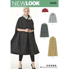These Misses; capes are a must-have statement piece for any look. Available in four lengths, featuring military look, fur or tie collar. New Look sewing pattern.