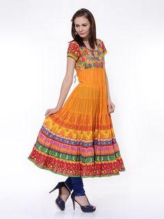Women Orange Printed Anarkali Kurta by ShopOfIndia on Etsy
