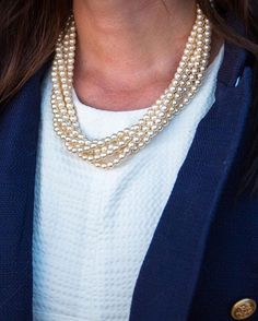 Navy, white, and pearls -- my favorite combo. New necklace available on KJP.com