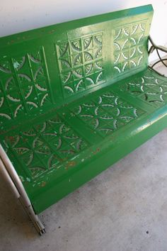 Spring Green Vintage Glider. Metal Bench. Industrial Home Decor. Retro Patio  Funiture. Cottage. Couch Chair. Kelly Grass Green. Geometric