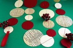 Red, Ivory & Vintage Paper Garland 3m or 6m