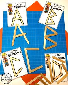 Preschool Letters Activities - Construction Theme Looking for fun Preschool Construction Theme Activities for kids? Check out these 16 Hands-On Construction Learning Activities and Crafts for Preschool or Kindergarten. Preschool Letters, Preschool Printables, Learning Letters, Teaching The Alphabet, Community Helpers Preschool, Preschool Lessons, Construction Theme Preschool, Construction For Kids, Preschool Activities