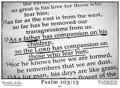 """As a father has compassion on his children, so the LORD has compassion on those who fear him;"" Psalm 103:13"