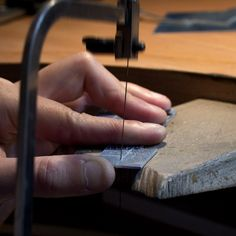 """STEP 1: CUT SILVER SQUARES Our artisan Margaux carefully marks the squares for precise cutting by a """"compass"""" specifically designed for metal cutting. #cufflinks #silver #fashion #personalized #gift #handmade #paris #madeinfrance #faitmain #cadeau #manchettes #argent"""