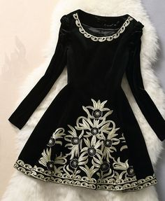 "Handmade Black Velvet Embroidered Long Sleeve Dress... Very ""Irish dancer"" like"