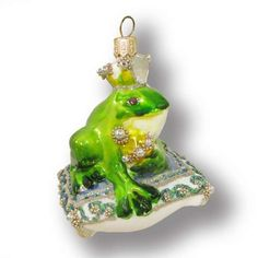 »Whimsical and Magical»Green frog on pillow - Christmas Tree Decorations - Silverado