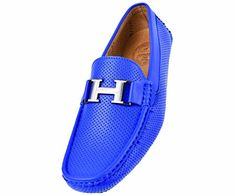 "Amali Mens Driving Moccasin Loafer in Perforated Smooth with Silver ""H"" Ornament in Royal Blue: Style 1052 Royal Blue-052 - http://shoes.goshopinterest.com/mens/loafers-mens/amali-mens-driving-moccasin-loafer-in-perforated-smooth-with-silver-h-ornament-in-royal-blue-style-1052-royal-blue-052/"