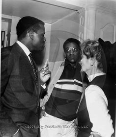 bonaventures:    Kate hanging out with Sidney Poitier and Bill Cosby on the set of Guess Who's Coming to Dinner (1967).