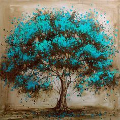 Hand Painted Modern Tree Art Decoration Oil Painting On Canvas Landsacpe Wall Pictures For Living Room Decor