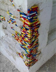 genius...Legos filling in crumbling REAL building.  And you thought toys were just playthings?!