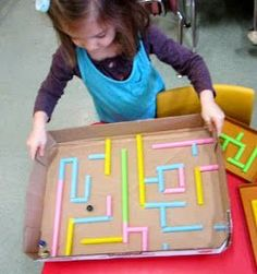 Letter M - marble maze! Preschool Crafts for Kids - Drinking Straw Maze Toy Craft kind of like an aireal cut-away of an animal digging tunnels Kids Crafts, Preschool Crafts, Projects For Kids, Diy For Kids, Craft Projects, Straw Art For Kids, Straw Projects, Kids Fun, Craft Ideas