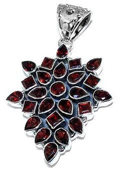 Garnet Cluster Sterling Silver Pendant