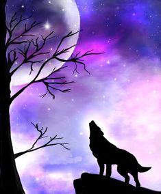 Galaxy painting Autodesk sketchbook wolf silhouette digital watercolor in 2020 Galaxy painting Wolf silhouette Silhouette painting