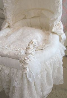This week I've been busy re-covering this cute pram, all with delicious French lace and silk, in cream and ivory colours. Baby Clothes Blanket, Baby Prams, Baby Cover, Lace Fabric, Kids Bedroom, Cribs, Kids Outfits, Shabby Chic, Nursery