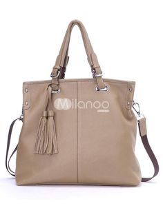 Khaki Tassel Zipper Closure Cowhide Womans Tote Bag. See More Tote Bags at http://www.ourgreatshop.com/Tote-Bags-C775.aspx