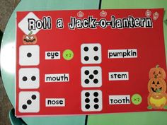 """Roll a Jack-O-Lantern - have to roll all the numbers in order to """"make your Jack-O-Lantern"""""""