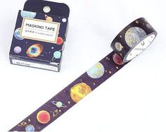 Beautiful watercolor planets with gold foil accents washi tape for astronomy / space themed scrapbooking, planners, and bullet journals. Masking Tape, Washi Tapes, Space Party, Gold Foil, Astronomy, Stationery, Personalized Items, Cool Stuff, Space Planets