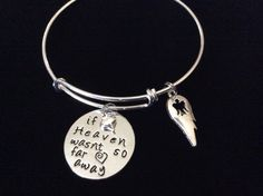 If Heaven Wasn't So Far Away Silver Expandable Charm Bracelet Adjustable Wire Bangle