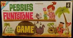 VINTAGE PEBBLES FLINTSTONE BOARD GAME NEARLY COMPLETE TRANSOGRAM 1963
