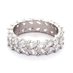 Sterling Silver Marquise Cut CZ Eternity Band, $54
