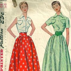 50s Simplicity 3200 Full Skirt and Blouse Pattern Size 12 Bust 30