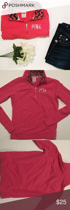 """Victoria's Secret PINK sweater. Great condition, one flaw. (See last photo) Price does reflect. Armpit to Armpit 17.5"""" - Armpit down 15.5"""" - Shoulder down 22"""". Victoria's Secret Tops Sweatshirts & Hoodies"""