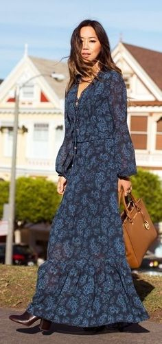 Michael Kors Blue Floral Maxi Dress | Street Boho | Song Of Style                                                                             Source