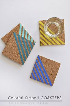 Colorful Striped DIY Cork Coasters, Delineate your dwelling Cork Crafts, Easy Diy Crafts, Creative Crafts, Martha Stewart Crafts, Coaster Design, Cork Coasters, Diy Painting, Diy Gifts, Handmade Gifts