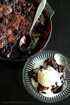 Grandma's Hot Fudge Sundae Cake -- just 10 minutes to put together, this fudgy cake creates it's own hot fudge sauce as it bakes! www.thereciperebel.com