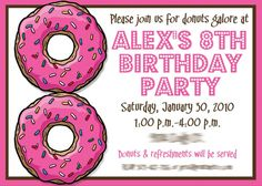 Stylish Pink And White Card Color Themed 8th Birthday Party Invitation With Two Donuts Images Motive
