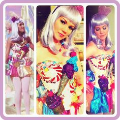 made my costume this year to look like Katy Perry's candy girl dress from her California Gurls video (still from video on left) - So fun to make and wear! Katy Perry Halloween Costume, Halloween Mode, Halloween Fashion, Family Halloween Costumes, Halloween Ideas, Candy Girls, Creative Costumes, Cool Costumes, Costume Ideas