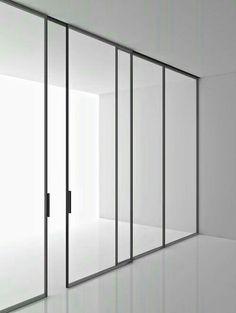 Tempered glass partition wall GREENE By Boffi design Piero Lissoni Door Design, House Design, Glass Partition Wall, Boffi, Window Frames, Internal Doors, Steel Doors, Sliding Doors, Entry Doors