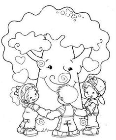 coloring kids and tree Colouring Pages, Free Coloring, Coloring Books, Kindergarten Activities, Preschool, Tree Day, Earth Day Activities, Transportation Theme, Human Drawing