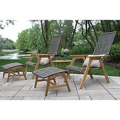 The Outdoor Interiors 4-Piece Teak & Wicker Basket Patio Lounger Set will give you a stylish and luxurious spot to relax on your deck or patio. Each piece is crafted of teak, wicker, and powder-coated aluminum for maximum durability. Free shipping on orders over $29.