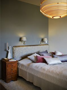 Elegant bedroom features a bed with flower design and Vivaraise pillows. Ay Illuminate hanging light made from bambus ply dominates the room. Ay Illuminate, Hanging Lights, Flower Designs, Bedrooms, Pillows, Interior Design, Elegant, Stuff To Buy, Furniture