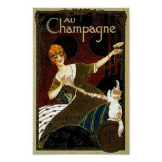 Au Champagne Lin Extra ~ Vintage French Ad Poster | Zazzle